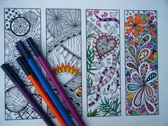 Printable Bookmarks - Bookmark Coloring Page - Zentangle Inspired - Digital Download - Bookmark Number 1. $3.25, via Etsy.