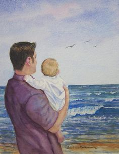 Father And Son~ Barbara Rosenzweig Fathers Love, Fathers Day Cards, Father And Son, Mother And Child, Abba Father, Jean Christophe, Love Painting, Watercolor Painting, Prayer Partner