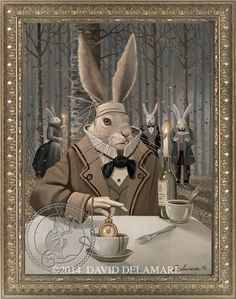 """""""The March Hare"""" (Alice in Wonderland book illustration by David Delamare.)  Information at www.daviddelamare.com/panther.html (18""""x24"""" artist-signed giclée print available) Artwork © David Delamare.  Alteration of artwork prohibited.  You may """"repin"""" this image only if this caption is unchanged. Please use comments box (not caption) for any personal notes."""