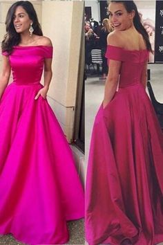 Simple Hot Pink Ball Gown Prom Dresses ,Hot Sales Off the Shoulder Prom Dress,Sexy Cheap Evening Prom Gowns,Long Prom Dresses With Pocket,Celebrity Dress,Communication Dress,Quinceanera Dresses