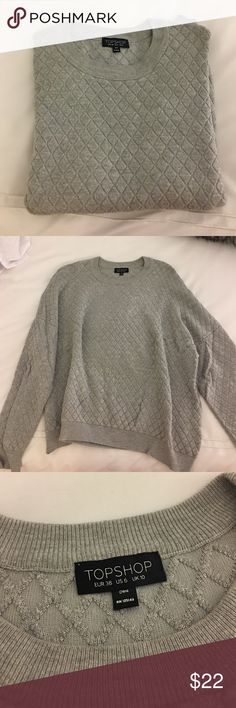 Topshop sweatshirt Great cozy grey topshop sweatshirt. Super comfortable, very stylish, no stains! Fits like a medium. Topshop Sweaters Crew & Scoop Necks