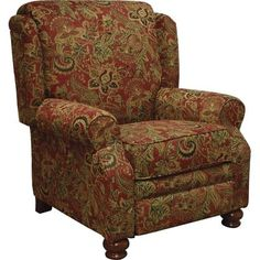 Jackson Furniture Belmont Collection 38 Inch Reclining Chair with Chenille Fabric Upholstery, Reversible Box Welted Seat Cushions and Turned Bun Feet in Red Lane Furniture, Hooker Furniture, Furniture Chairs, Furniture Ideas, Unique Furniture, Furniture Refinishing, Furniture Removal, Living Room Sets, Living Room Chairs