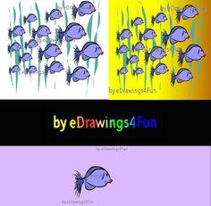 Fish in the Sea.  2 Clip Art and Fish. Digital by eDrawings4Fun