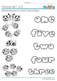 Ficha para aprender los números en inglés, para niños. #infantil ...