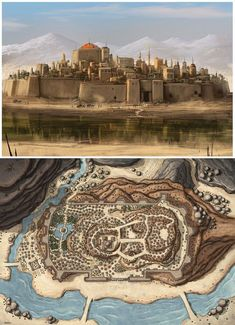 This is kinda what we need for overview pictures with notable landmarks identified on over head map and then show more close up photos of stuff Fantasy City Map, Fantasy World Map, Fantasy Town, Fantasy Castle, Fantasy Places, Medieval Fantasy, Dungeons And Dragons Homebrew, D&d Dungeons And Dragons, Fantasy Art Landscapes
