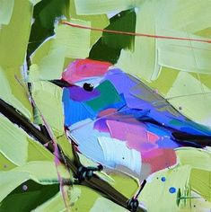 """Daily Paintworks - """"White-browed Tit-warbler Paint..."""" by Angela Moulton"""
