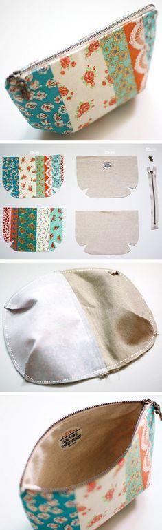How to make tutorial vintage cosmetic bag purse. DIY step by step tutorial instruction. http://www.handmadiya.com/2015/10/zippered-pouch-tutorial.html
