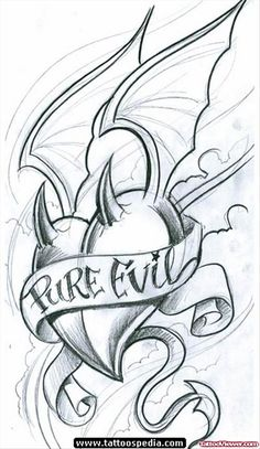 Pure Evil Banner And Winged Devil Heart Tattoo Design | Tattoo ...