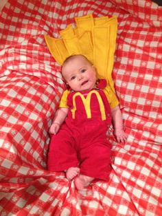 Baby French Fry Costume: Baby Gap overalls, Rocawear onesie and some felt = an order of small fries that supersizes the cuteness! Trace the logo onto felt and use heat-n-bond to attach it. Cut 3-inch double-layer strips of felt with angled tops and stitch together with jeans thread. Arrange as desired and hot glue fries together, then tack onto overalls.