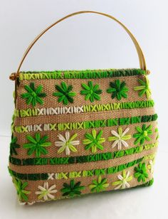 Vintage burlap project bag or purse rustic by CircularVintage