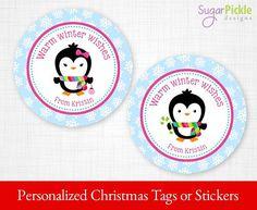 PRINTABLE Christmas Gift tags, Christmas Stickers, Christmas Tags, Christmas Treat Tags, Christmas Party Supplies 2.5 inch Circle, Penguins   #PartySupplies #ChristmasTreatTags #ChristmasGiftTags #Stickers #ChristmasTags