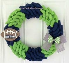 New England Patriots burlap wreath w/ chevron by TheCraftinBear