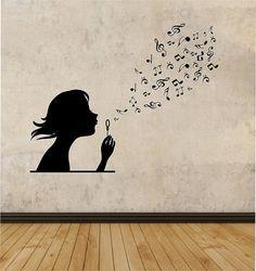 Girl Blowing Music Notes Vinyl Wall Decal Sticker Art Decor Bedroom Design Mural interior design family girl room