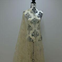 Velvet Flock DAMASK Voile Organza Dress Sheer Lace Draping Net Kitchen Curtains  #PrestigeFashion