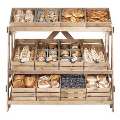 Artisan Shop display equipment for Green Grocers and convience stores. Rustic Shop shelving and Fruit&Veg stands beautiful store fixtures. Bakery Shop Design, Coffee Shop Design, Cafe Design, Design Design, Bread Display, Bakery Display, Bakery Store, Bakery Cafe, Small Bakery