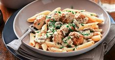 This tasty pasta and meatball dish with creamy mustard sauce goes from kitchen to table in just 30 minutes.