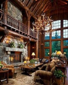 LOG CABIN- Visually, log homes tend to separate into two broad options. One is the historic style with dovetail corners and Chinking, that you see on our 55 Best Log Cabin Homes Modern page. The other, which you see on… Continue Reading → Hunting Lodge Decor, Hunting Lodge Interiors, Family Room Decorating, Decorating Ideas, Decor Ideas, Interior Decorating, Log Home Decorating, Decorating Kitchen, Diy Decoration