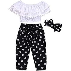 Little Girl Summer Sets, Jchen Baby Girls Off Shoulder Tassel Crop Tops+Polka Dot Pants Bowknot Princess Outfits for Yrs: Clothing Storing Baby Clothes, Trendy Baby Clothes, Plaid Shirt Outfits, Pants Outfit, Stylish Baby Girls, Polka Dot Pants, Polka Dots, Baby Girl Pants, Baby Girl Fashion