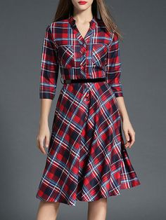 Multicolor V Neck Pockets Check Belted Dress