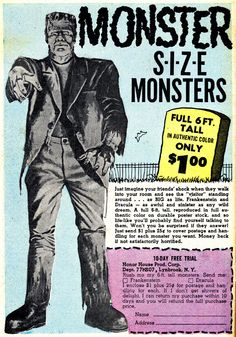 I SO so wanted this as a kid - imagining it to be a 3D statue of Frankie - though now I know it would just have been a giant card or paper pinup (which still woulda been cool!). This is the largest version of this ad that I've found, from an old comic called 'The Clutching Hand' - sourced from here: http://comicbookplus.com/ where you can download OVER 2000 out-of-copyright comics for FREE - an amazing online resource! Darwin bless the internet!