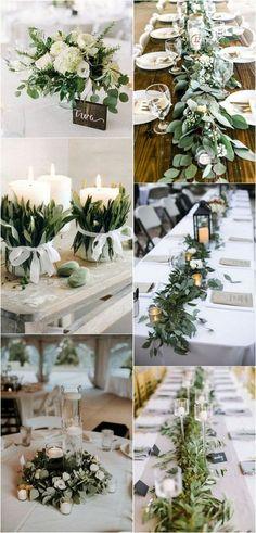 white and greenery chic wedding centerpiece ideas #weddingdecor #weddingcenterpieces #weddingreception #weddingideas #weddingcolor
