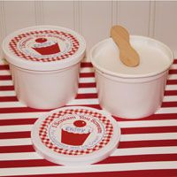 Awesome site for unique party supplies. Love these ice cream cups with lids.  Like the disposable ice cream cups we ate as kids but cuter!