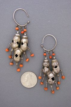 Uzbekistan | Very old silver and coral earrings