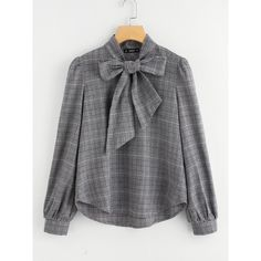 SheIn(sheinside) Bow Tie Neck Plaid Blouse ($20) ❤ liked on Polyvore featuring tops, blouses, grey, cotton blouse, grey crop top, neck ties, gray blouse and long sleeve tie neck blouse