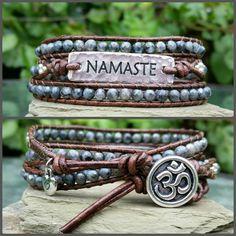 Labradorite namaste wrap bracelet Boho leather wrap bracelet