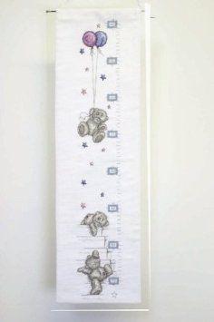 "Height Chart - Tatty Teddy Cross Stitch Kit. Stitched on 14 count white Aida fabric. Finished size: 30 1/2"" x 5 1/2"" (78cm x 14cm)."