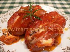 Špekáčky s nivou a cibulí – Maminčiny recepty Baked Potato, Pork, Potatoes, Chicken, Meat, Baking, Ethnic Recipes, Kochen, Pork Roulade