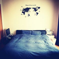 chiaki0916さんの、ベッド周り,無印良品,ウォールステッカー,布団カバー,同棲,デニム生地,ブルックリン,のお部屋写真