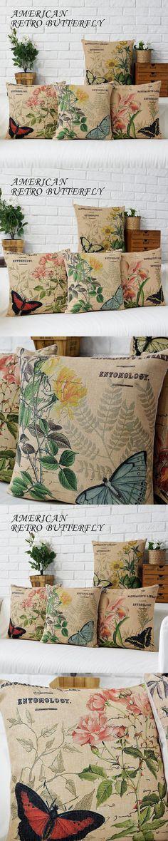 Free Shipping Linen Throw Pillow Hot Sale New Fashion Wedding Decor 45cm Boho Style Retro Butterfly Home Office Sofa Car Cushion