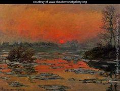 Sunset On The Seine In Winter - Claude Oscar Monet
