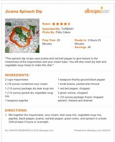 Jicama Spinach Dip