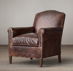 "1920s French Camelback Leather Club Chair 28""W X 31""D X 33½""H"