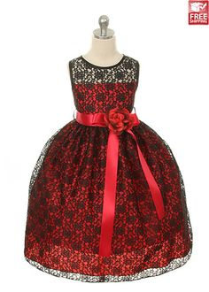 Black Red Lace Flower Girl Dress