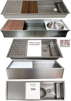 Custom Stainless steel workstation sinks designed with you and the owner. Every sink is custom designed to suit your specific needs. Best Kitchen Sinks, Kitchen Sink Design, Pantry Design, Modern Kitchen Design, Interior Design Kitchen, Kitchen And Bath, Living Room Kitchen, Home Decor Kitchen, Cuisines Design