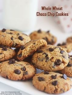 eggless whole wheat choco chip cookies recipe using jaggery as sweetner.eggless choco chip cookies recipe usong whole wheat flour. Eggless Cookie Recipes, Eggless Desserts, Eggless Baking, Dessert Recipes, Eggless Biscotti Recipe, Cake Recipes, Quick Recipes, Bread Recipes, Cooking Recipes