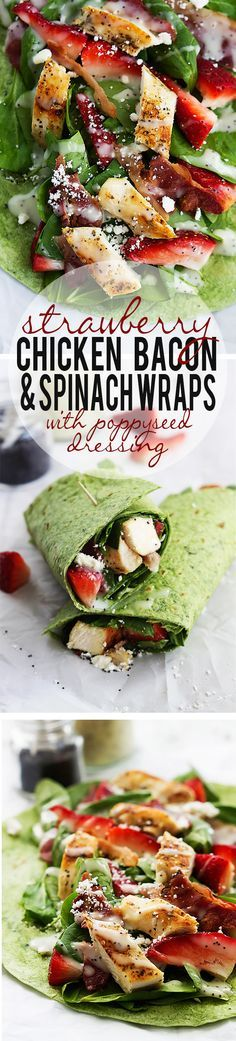 Strawberry chicken bacon & spinach wraps with creamy poppyseed dressing. Easy f Strawberry chicken bacon & spinach wraps with creamy poppyseed dressing. Easy fast healthy and soooo delicious. I Love Food, Good Food, Yummy Food, Healthy Snacks, Healthy Eating, Healthy Recipes, Healthy Wraps, Vegetarian Recipes, Chicken Bacon