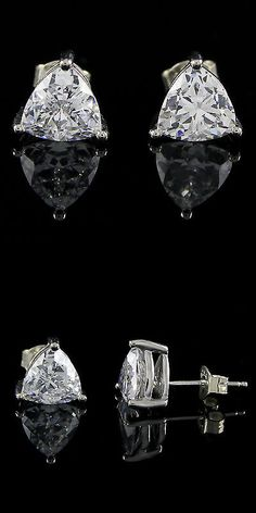 Other Wedding Jewelry 164311: 3Ct Platinum Plated Trillion Cut Diamond Stud Earrings W/ Push Back Vvs1/D BUY IT NOW ONLY: $156.78