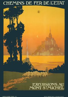 TX04 Vintage 1930's France Mont St.Michel French Travel Poster Re-Print A1/A2/A3