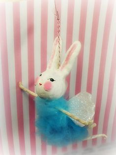 Mabel the ballerina bunny pixie fairy ornament by sugarcookiedolls