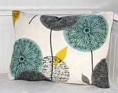 Color scheme decorative pillow cover teal grey mustard, dandelion sofa cushion cover lumbar 12 x 18 inch via Etsy Cushion Inserts, Sofa Cushion Covers, Teal Living Rooms, Living Room Decor, Mustard Sofa, Mustard Bedroom, Cushions On Sofa, Throw Pillows, Turquoise Sofa