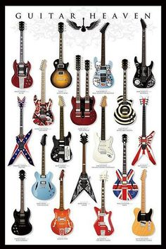 Guitar Heaven Chart of Famous Guitars Music Poster. My boys would LOVE to see a poster like this in our general music classroom! Guitar Tips, Guitar Art, Music Guitar, Guitar Chords, Cool Guitar, Guitar Lessons, Playing Guitar, Guitar Tattoo, Guitar Strings