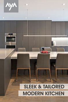 Sleek & Tailored - Attention to detail is evident as every aspect of this modern kitchen space was thought-out with precision. Visit ayakitchens.com to see more inspiring kitchens in our gallery. Urban Kitchen, Kitchen And Bath, New Kitchen, Kitchen Gallery, Kitchen Cabinetry, Contemporary, Modern, Kitchen Design, Kitchens