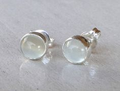 Moonstone Earrings - Gemstone Silver Stud Earrings - Sterling Silver Stud Earrings  Everyday Wearable Jewelry by Gioielli Designs on Etsy, $22.00