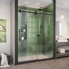 DreamLine Enigma - XO 56 - 60 in. W x 76 in. H Fully Frameless Sliding Shower Enclosure in Oil Rubbed Bronze DreamLine Enigma - XO 56 - 60 in. W x 76 in. H Fully Frameless Sliding Shower Enclosure in Oil Rubbed - The Home Depot Frameless Sliding Shower Doors, Frameless Shower Enclosures, Sliding Doors, Barn Doors, Entry Doors, Shower Base, Walk In Shower, Shower Tub, Black Shower