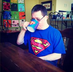 Monday #larchelife at L'Arche St Louis >> nothing like a strong cup of coffee to make us feel like we could leap tall buildings!   #community #friendship #coffee #superman #larche