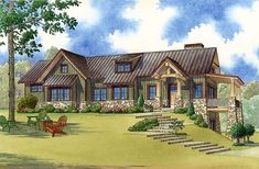 Contemporary Country Craftsman Elevation of Plan 82478